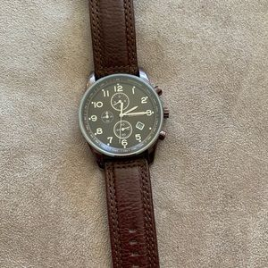 EUC men's Fossil chronograph leather watch